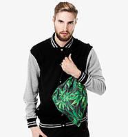 Молодежный рюкзак городской  3D конопля зленая