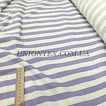 Ткань стрейч лен принт полоска сиреневая с белой, фото 3