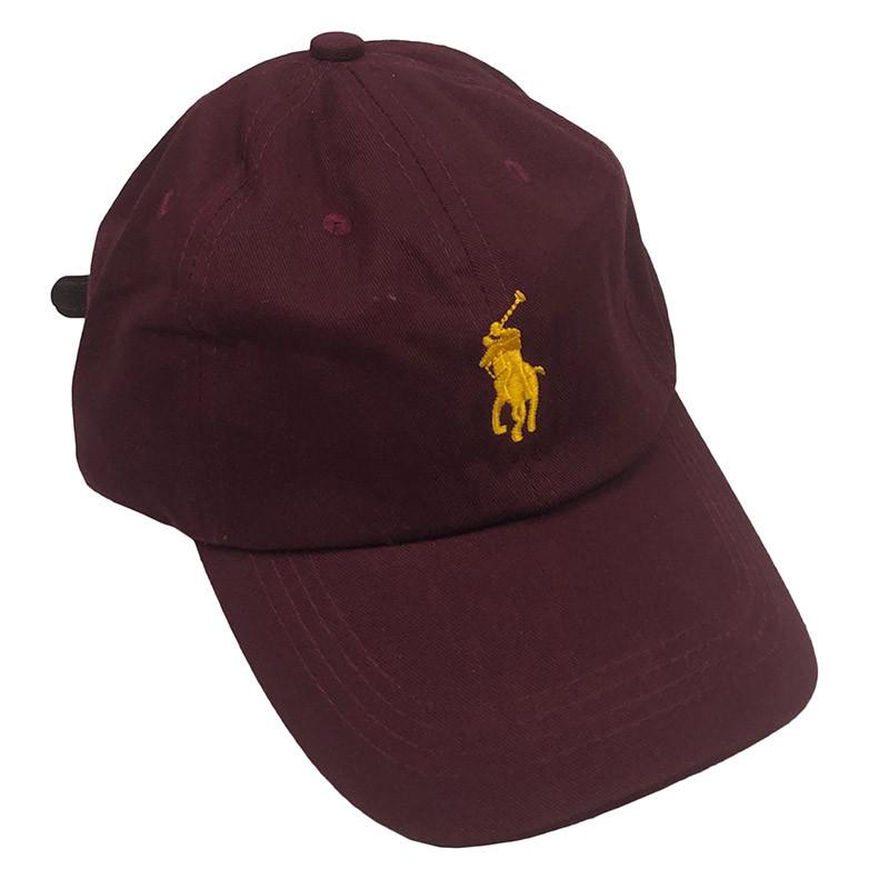 Бейсболка МК-1076 кожаный ремешок бордо, желтый лого