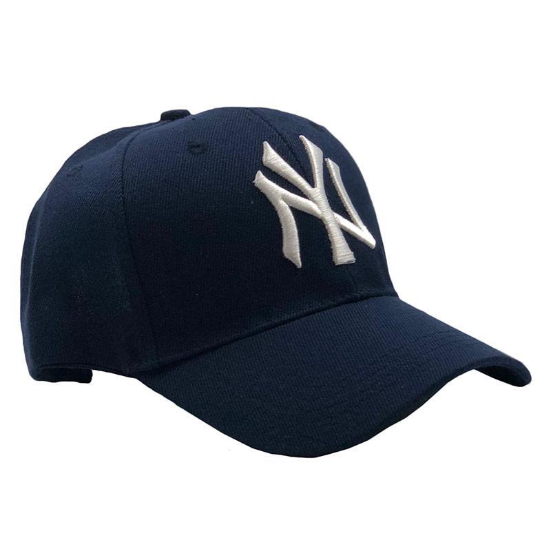 Бейсболка МК-1210 без наклеек темно-синяя, белое лого