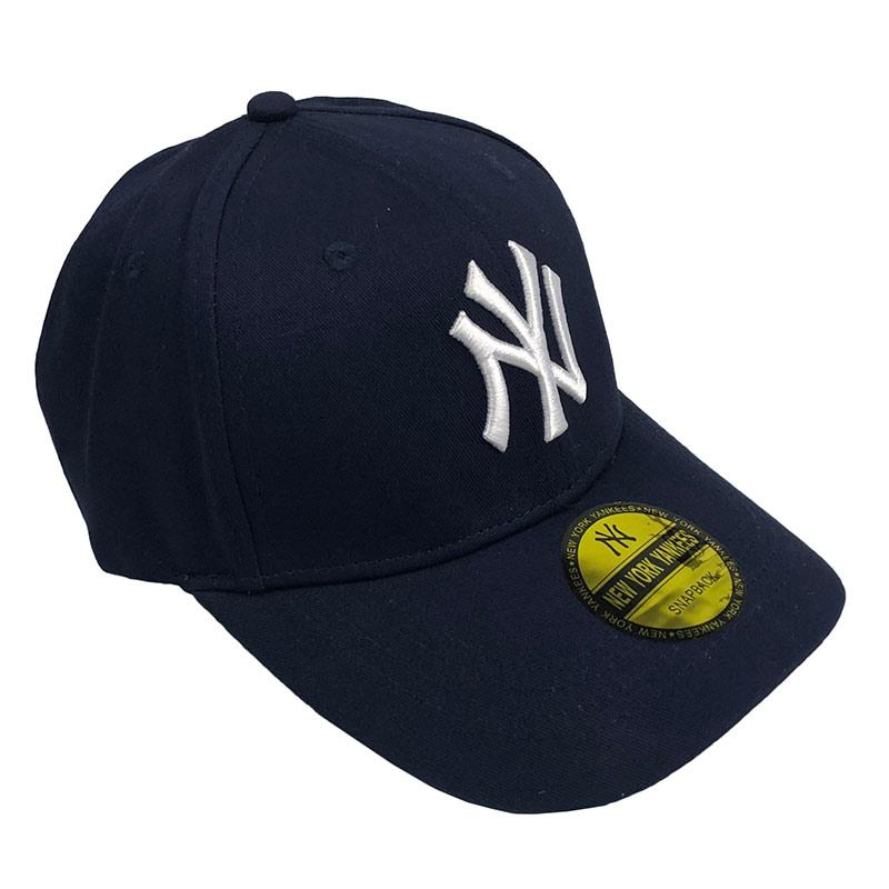 Бейсболка МК-1029 c наклейкой, темно-синяя, белое лого