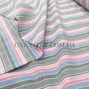 Ткань лен принт полоска разноцветная