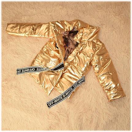 Куртка на девочку демисезонная золотистого цвета размер 104 116, фото 2