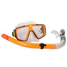 Набір для підводного плавання 65062 маска 17-8 см і трубка 37 см яскраві кольори, фото 3