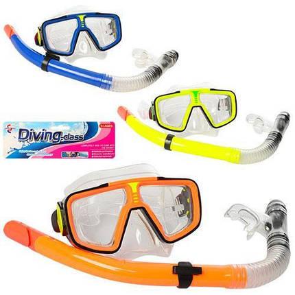 Набір для підводного плавання 65062 маска 17-8 см і трубка 37 см яскраві кольори, фото 2