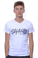Классная мужская футболка с надписью и треугольный вырезом горловины. Цвет белый. Футболка очень крутая.Per-Fa Белый, Новое, Хлопок, Абстрактный принт, Без застежки, V-образный, 48, Короткий, Повседневный, Полуприлегающий, С рисунками, Футболка