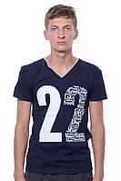 Классная и стильная мужская футболка с модным принтом, цвет темно-синый V&A. На лето супер.