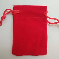 Мішечок з оксамиту червоний 5х7 см, 1 шт., Вир-во Китай, фото 1
