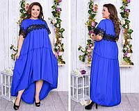 Батальное платье макси длина с кружевом