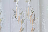 Тюль микровуаль листья