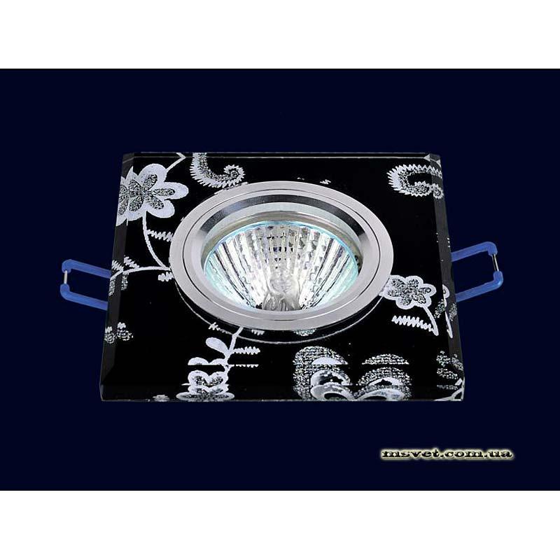 Точечный светильник черный с рисунком на хроме LS-10894
