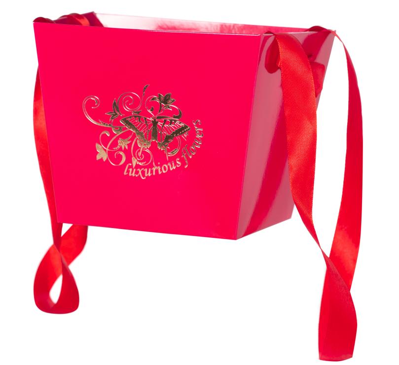Бумажная сумка - трапеция ярко-розовая  Luxurious flowers
