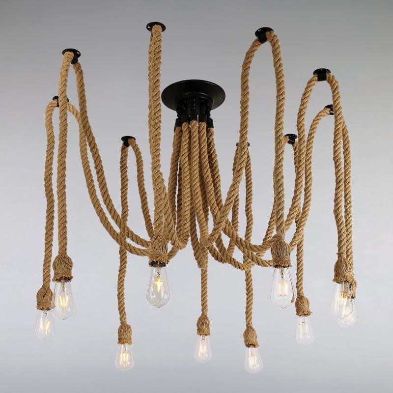 Люстра LS-13335-10 BK коричневая