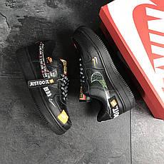 Мужские кроссовки Nike Air Force 1 Just Do It, черные, фото 3