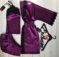 Домашний комплект пижама + халат фиолетового цвета