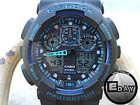 Спортивные наручные часы Casio G-Shock GA 100 Черные с синим , фото 1