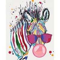 Картина по номерам на холсте Яркая зебра, KHO4071