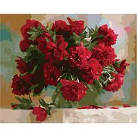 Картина по номерам на холсте Красные пионы, KHO1133