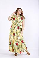 / Размер 42-74 / Женское желтое длинное платье с цветами 01224