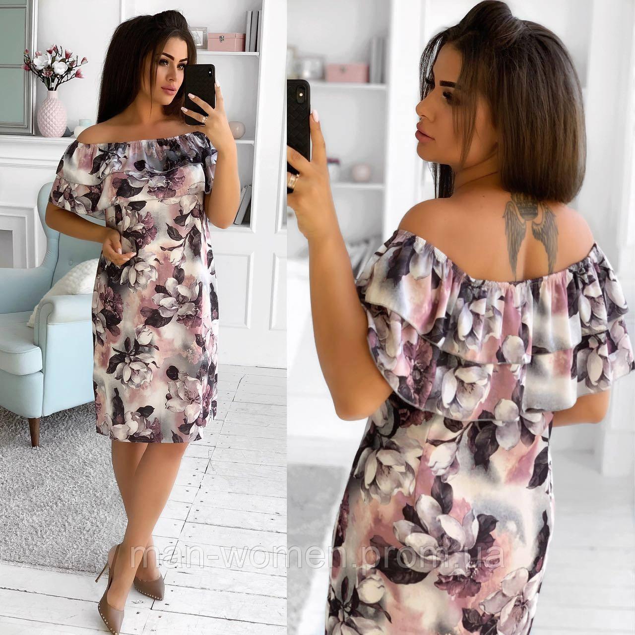 Романтичное, легкое платье из шелка с цветочным принтом. Размер: 50,52,54,56