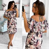 Романтичное, легкое платье из шелка с цветочным принтом. Размер: 50,52,54,56 , фото 1