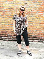 Костюм капри+туника Леопард крупный
