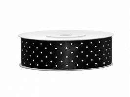 Сатиновая лента с точками (25 мм) черная