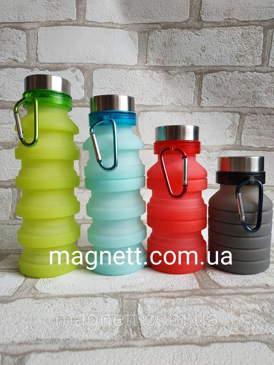 Складная силиконовая бутылка с карабином 470 МЛ (Разные цвета)