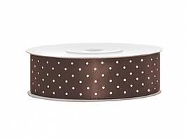 Сатиновая лента с точками (25 мм) коричневая