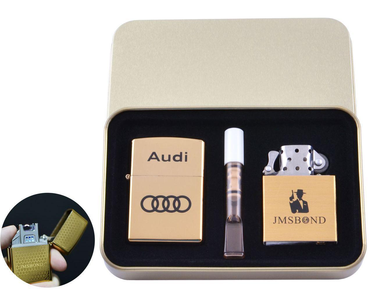 Электроимпульсная (USB) + бензиновая зажигалки в подарочной коробке + мундштук AUDI