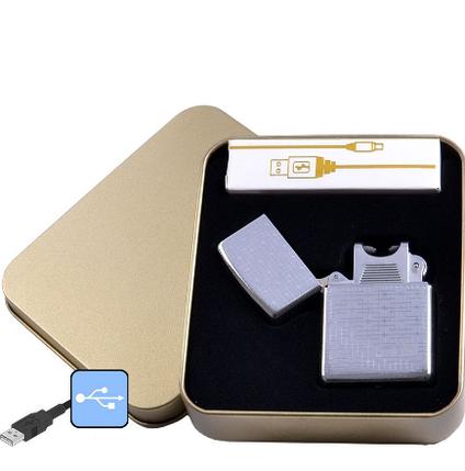 Электроимпульсная зажигалка в металлической упаковке JIN LUN (USB) , фото 2