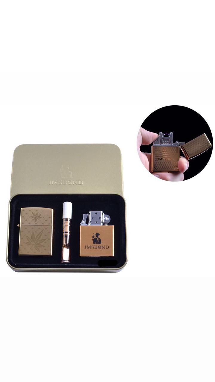 """Электроимпульсная (USB) + бензиновая зажигалки в подарочной коробке + мундштук """"Конопля"""""""
