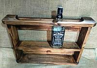 """Полкадля  виски """"Джэк""""дерево, белая, орех, дерево, венге, бесцветный лак, чёрная, серая."""