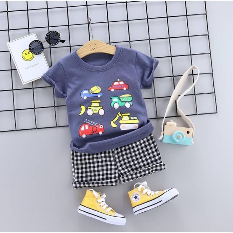 Летний костюм на мальчика  футбока +шорты клетка Cars  1-4 года    синий