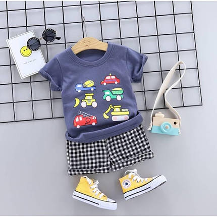 Летний костюм на мальчика  футбока +шорты клетка Cars  1-4 года    синий, фото 2