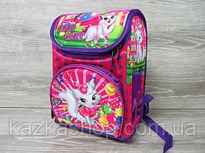 """Детский рюкзак для школьников 2-5 класов, два отдела, каркасный, персонажи """"Кошечка"""""""