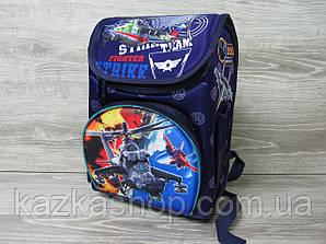 """Детский рюкзак для школьников 2-5 класов, два отдела, каркасный, персонажи """"Вертолет"""""""