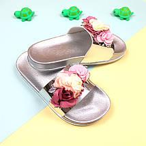 Пляжные шлепки цветы Серебро размер 37, фото 3