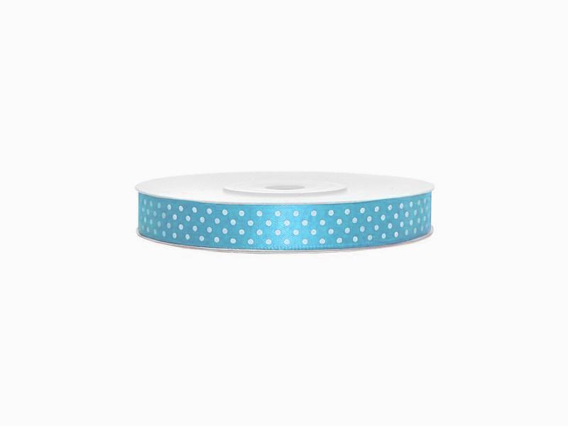Сатиновая лента с точками (12 мм) голубая