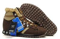 Кроссовки зимние мужские Adidas Jogging Hi Star Wars Chewbacca (адидас чубакка) коричневые