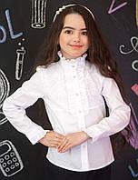 Блузка Свит блуз мод. 5027 белая  со стойкой и  кружевом р.128