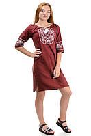 Платье вышиванка «Лилия» марсала р42-52, фото 1