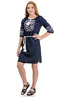 Платье с вышивкой «Лилия» темно-синее р42-52, фото 1