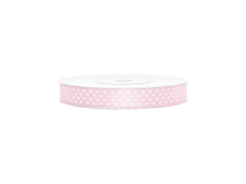 Сатиновая лента с точками (12 мм) нежно-розовая