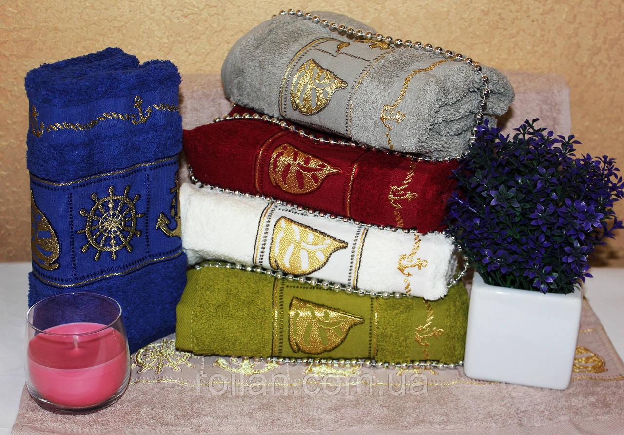 Метровые турецкие полотенца Gulcan Золотой кораблик