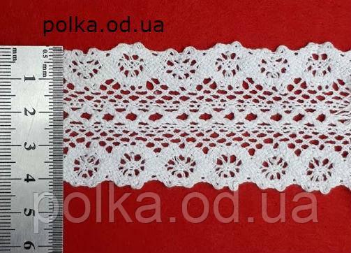 В'язане мереживо -ширина 4 см,колір білий(1уп-46м)