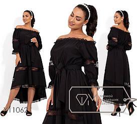 Пышное черное платье с вырезом анжелика р.42-44,44-46,48-50