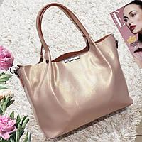 Женская сумка из натуральной кожи розовый перламутр, фото 1