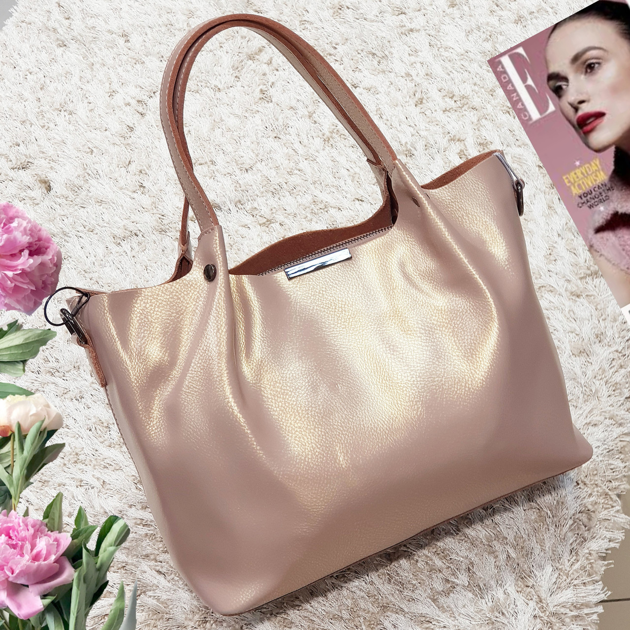 Женская сумка из натуральной кожи розовый перламутр