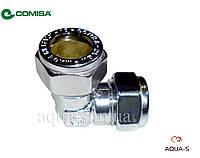 Уголок хромированный обжимной Comisa (для труб из меди и стали) D 15 мм. (цанговый) Италия